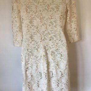 b53d233780c Onyx Nite Dresses - Ivory Lace Stretch Body Con Sexy Gold Sequin Dress